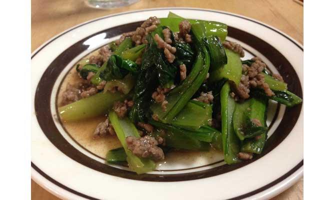 小松菜とひき肉